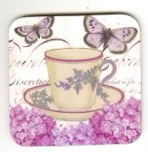 PURPLE TEA CUP COASTER